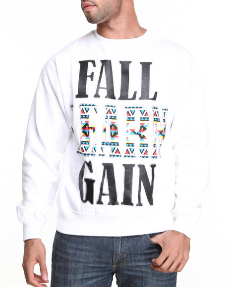 Ackers - Men White Fast Learn Gain Crewneck Fleece Sweatshirt