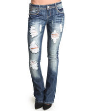 Almost Famous - Distructed Boot Leg Skinny Jean