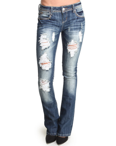 Almost Famous - Women Dark Wash Distructed Boot Leg Skinny Jean - $25.99
