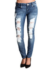 Almost Famous - Destructed Lace Trim Skinny Jean