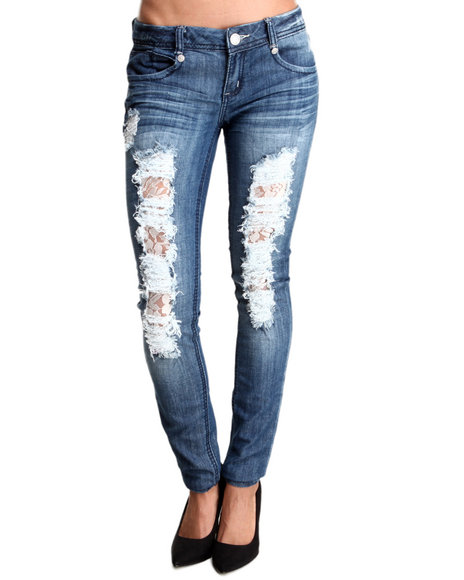Almost Famous - Women Dark Wash Destructed Lace Trim Skinny Jean - $23.99