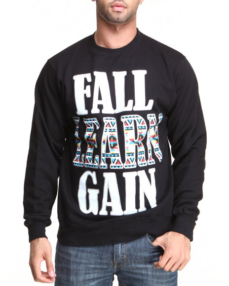 Ackers Black Fast Learn Gain Crewneck Fleece Sweatshirt