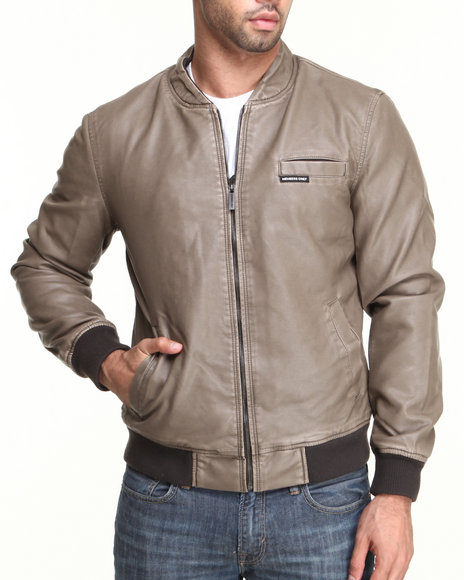Members Only - Men Khaki Faux Leather Baseball Jacket