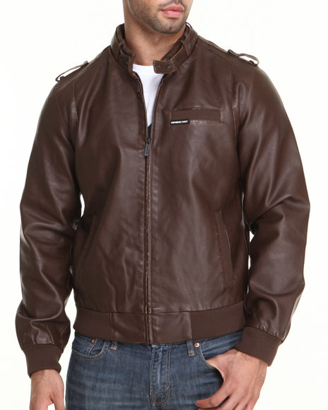 Members Only - Men Brown Faux Leather Real Racer