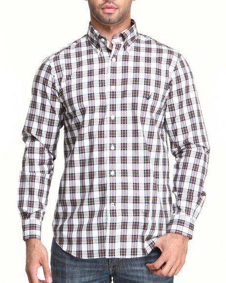Nautica White L/S Plaid Poplin Button-Down