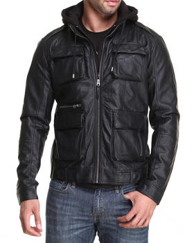 Members Only - Faux Leather Hooded L Train Coat