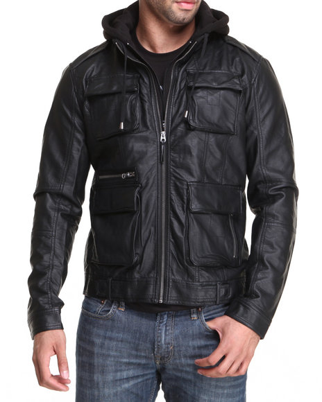 Members Only Black Faux Leather Hooded L Train Coat