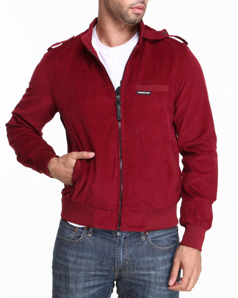 Members Only - Men Red Lightweight Corduroy Faded Wash Jacket