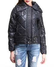 Black Friday Deals - Quilted Puffer Buckle Trim Jacket
