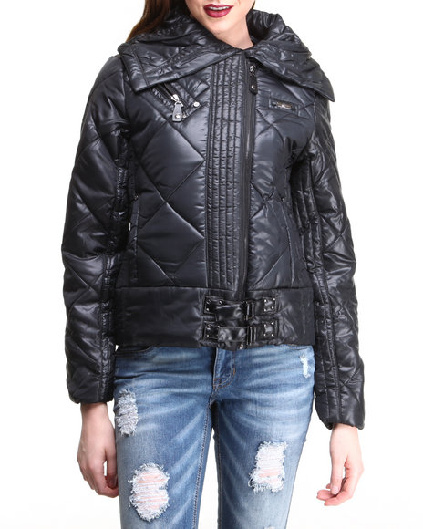 Apple Bottoms - Women Black Quilted Puffer Buckle Trim Jacket - $26.99