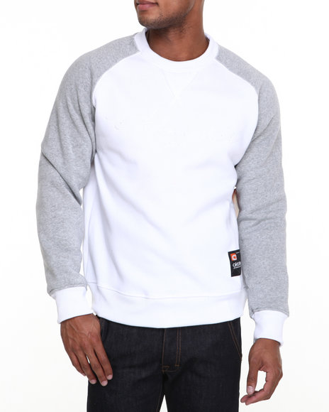Akademiks White Vinny Raglan Crew Neck Fleece Sweatshirt