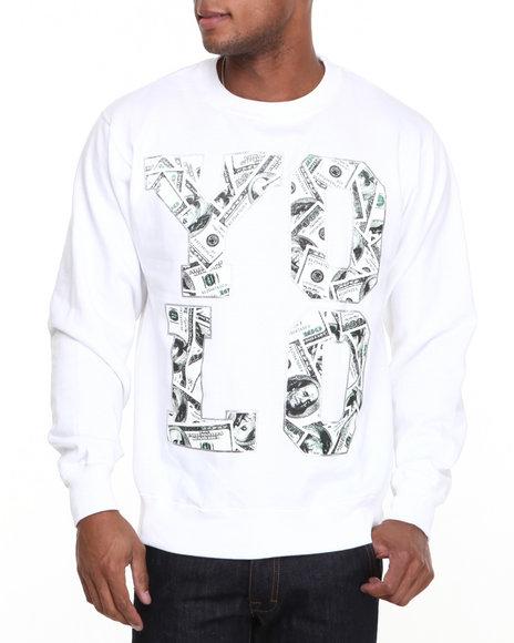 Ackers White Yolo Money Crewneck Fleece Sweatshirt