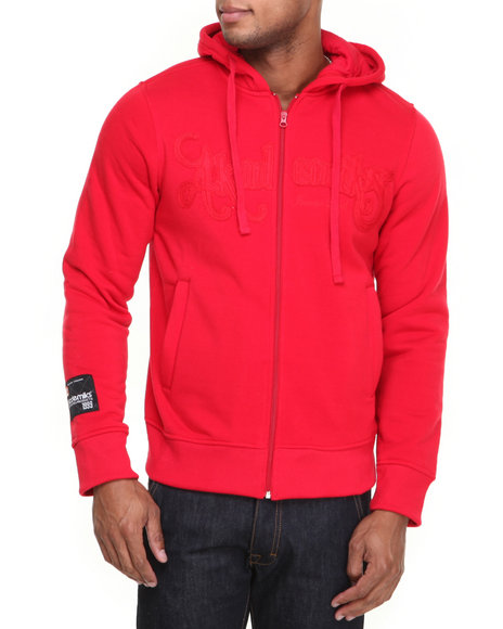Akademiks Red Cedric Heavyweight Zip Fleece Hoody