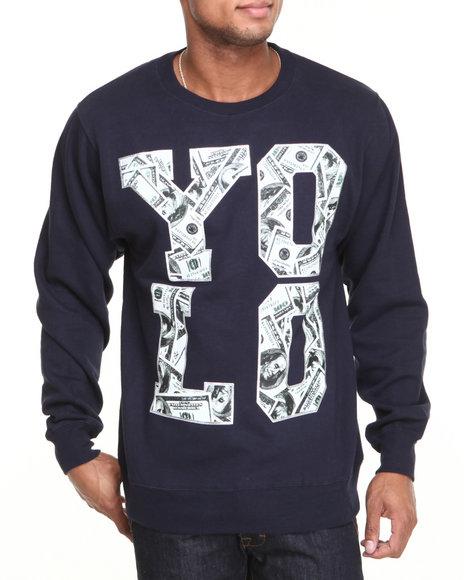 Ackers Navy Yolo Money Crewneck Fleece Sweatshirt