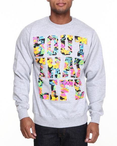 Ackers Grey Bout That Life Crewneck Fleece Sweatshirt