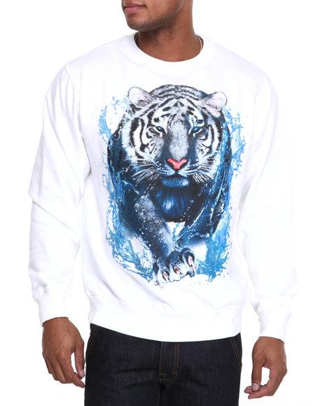 Ackers White Tiger Crewneck Fleece Sweatshirt