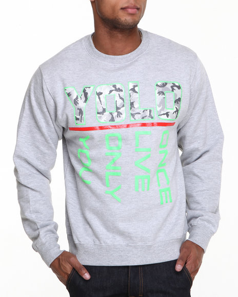 Ackers - Men Grey Yolo Crewneck Fleece Sweatshirt
