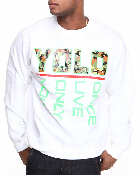 Ackers - Men White Yolo Crewneck Fleece Sweatshirt