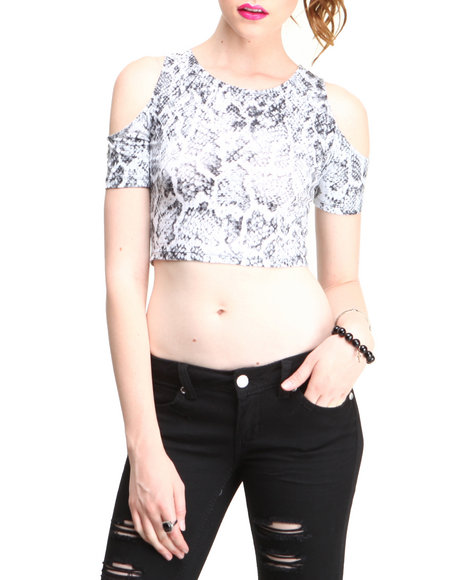 Motel - Women White Snake Print Shoulder Cutout Top