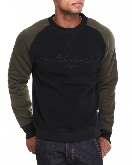 Akademiks - Men Olive Vinny Raglan Crew Neck Fleece Sweatshirt