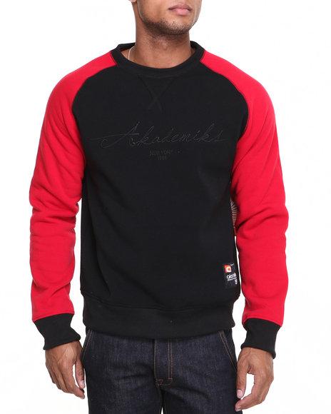 Akademiks - Men Red Vinny Raglan Crew Neck Fleece Sweatshirt
