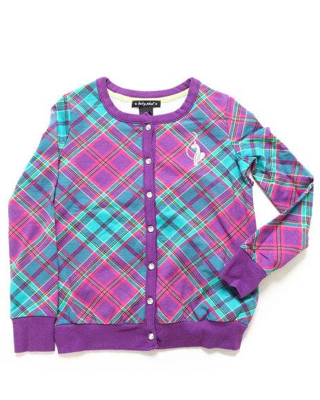 Baby Phat Girls Purple Plaid Cardigan (4-6X)