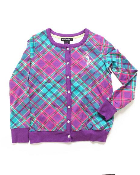 Baby Phat Girls Purple Plaid Cardigan (7-16)