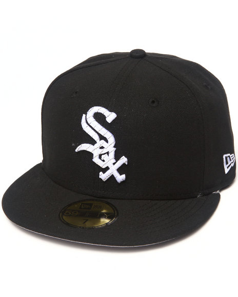 New Era - Men Black Chicago White Sox Logo Chain 5950 Fitted Hat - $30.99