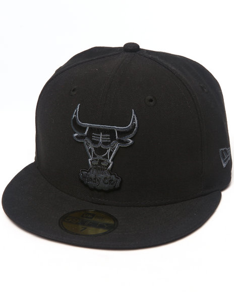New Era - Men Black Chicago Bulls Hardwood Classic Black & Grey 5950 Fitted Hat