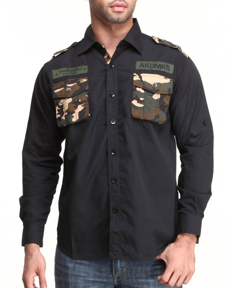 Akademiks - Men Black Mchenry L/S Solid Button Down Shirt - $16.99