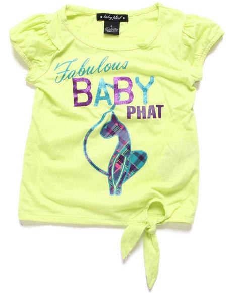 Baby Phat - Girls Lime Green Fabulous Bp Side Tie Tee (7-16)