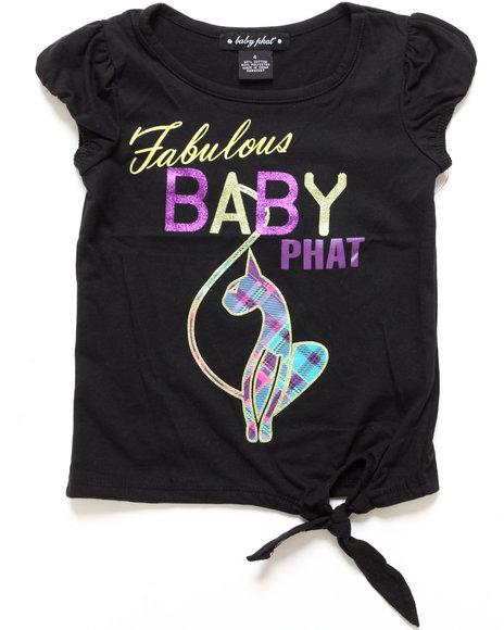 Baby Phat - Girls Black Fabulous Bp Side Tie Tee (7-16)