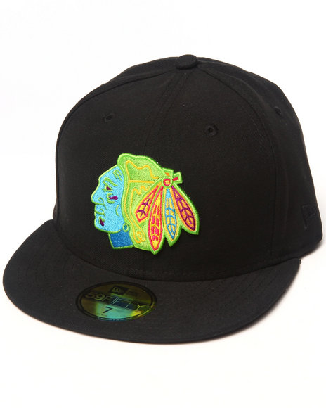 New Era - Men Black Chicago Blackhawks Nhl 5950 Fitted Hat - $34.99
