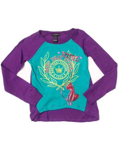 Baby Phat - Girls Purple L/S Color Block Top (7-16)
