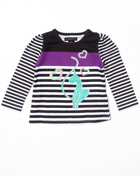 Baby Phat - Girls Black L/S Striped Top (2T-4T)