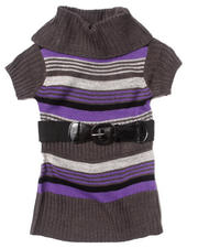 Dresses - COWL NECK STRIPED SWEATER DRESS (2T-4T)