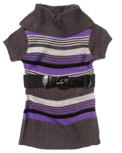 La Galleria - Girls Purple Cowl Neck Striped Sweater Dress (2T-4T) - $9.99