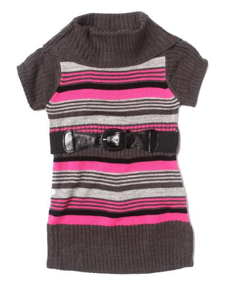 La Galleria - Girls Pink Cowl Neck Striped Sweater Dress (2T-4T)