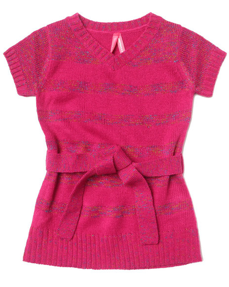 La Galleria - Girls Pink Lurex Stripe Dress (2T-4T)