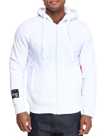 Akademiks - Men White Cedric Heavyweight Zip Fleece Hoodie