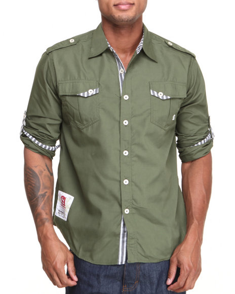 Akademiks - Men Olive Edwin L/S Roll-Up Button-Down Shirt