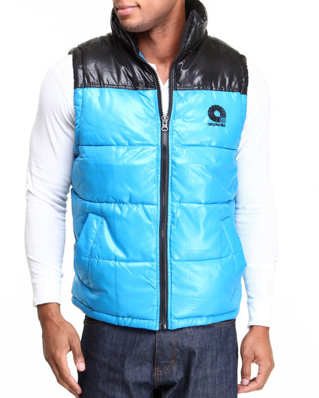 Akademiks - Men Blue Flossosin Padded Neon Bubble Vest
