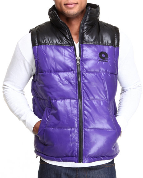 Akademiks - Men Purple Flossosin Padded Neon Bubble Vest