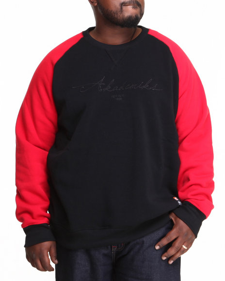Akademiks Red Vinny Raglan Crew Neck Fleece Sweatshirt (Big & Tall)