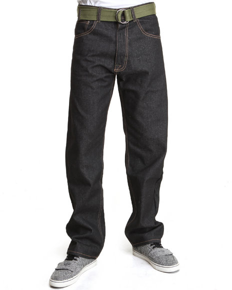 Akademiks - Men Olive Jackson Belted Raw Wash Denim Jeans