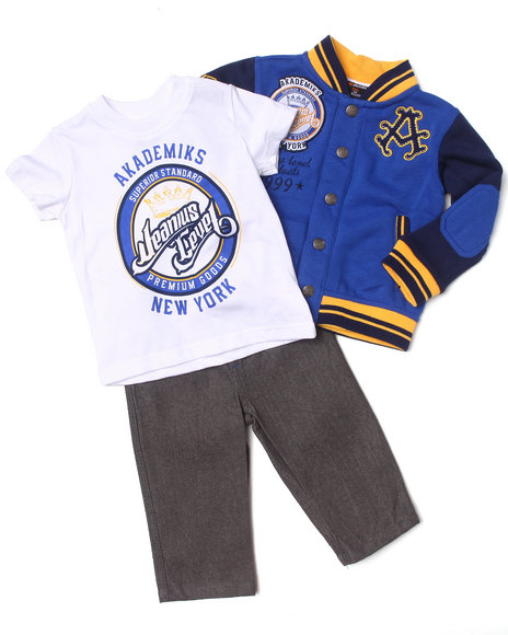 Akademiks - Boys Blue 3 Pc Set - Varsity Jacket, Tee & Jeans (Infant)