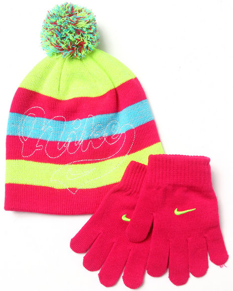 Nike Girls Vintage Beanie & Gloves Set Pink