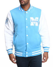 Men - Mo7 Carolina Blue/White Fleece Varsity Jacket