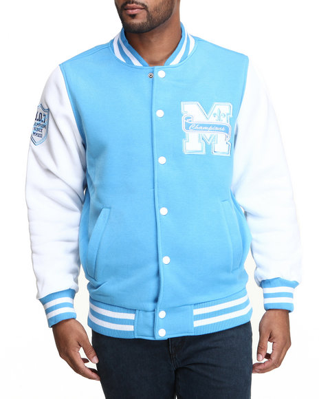 Mo7 - Men Light Blue Mo7 Carolina Blue/White Fleece Varsity Jacket