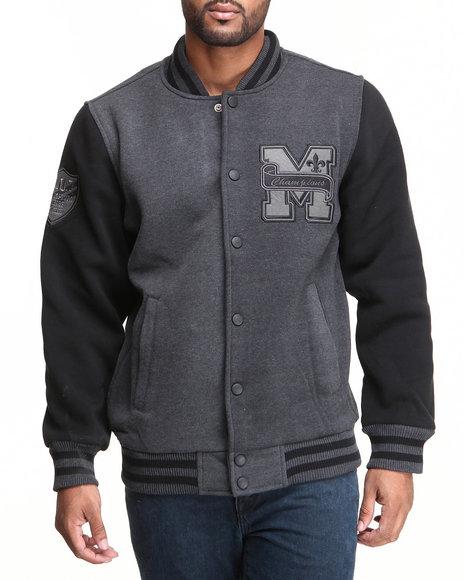 Mo7 - Men Charcoal Mo7 Charcoal/Black Fleece Varsity Jacket